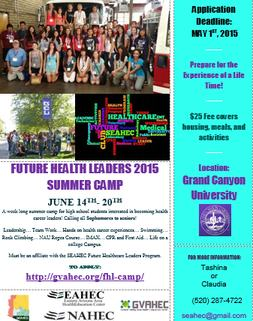 Download: https://www.seahec.org/wp-content/uploads/2015/03/2015-Future-Health-Leaders-Summer-Camp-Flyer.pdf