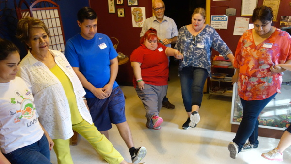 "BISLE students led SCTP members & staff in the ""Hokey Pokey"" as a stress relieving exercise"