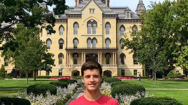 Diego Garcia, former FHL Club President, now attends University of Notre Dame